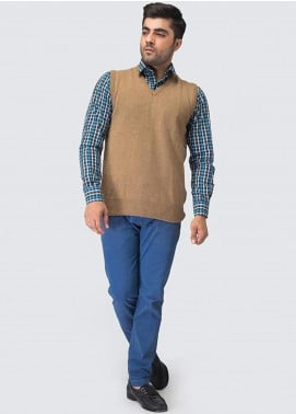 Oxford Woollen Sleeveless Men Sweaters -  08 SAVANNA