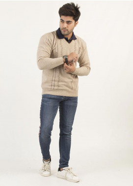 Oxford Woollen Full Sleeves Sweaters for Men -  11 NATURAL