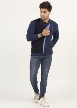 Oxford Woollen Full Sleeves Men Sweaters -  14 BLUE