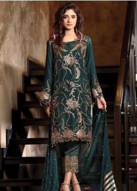 Panache by Puri Fabrics Embroidered Chiffon Unstitched 3 Piece Suit PCH20C 01 Amber - Luxury Collection