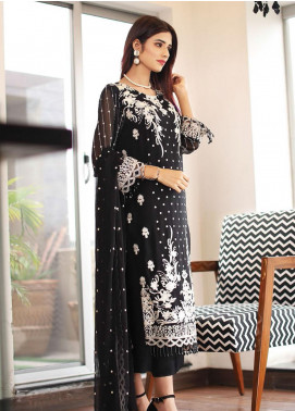Panache by Puri Fabrics Embroidered Chiffon Unstitched 3 Piece Suit PCH20C 03 Empire - Luxury Collection