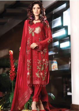 Panache by Puri Fabrics Embroidered Chiffon Unstitched 3 Piece Suit PCH20C 10 Vibrant - Luxury Collection