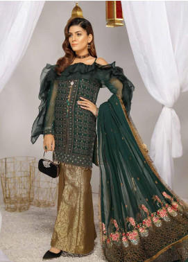 Panache by Puri Fabrics Embroidered Chiffon Unstitched 3 Piece Suit PCH20WF 03 MIDNIGHT - Wedding Collection