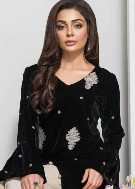 Panache By Regalia Embroidered Velvet Unstitched Kurties PNK18V 01 - Luxury Winter Outfit