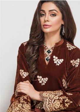 Panache By Regalia Embroidered Velvet Unstitched Kurties PNK18V 07 - Luxury Winter Outfit