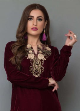 Panache By Regalia Embroidered Velvet Unstitched Kurties PNK18V 12 - Luxury Winter Outfit