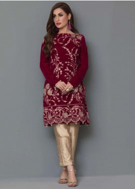 Panache By Regalia Embroidered Velvet Unstitched Kurties PNK18V 13 - Luxury Winter Outfit