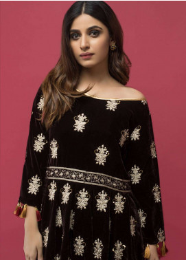 Panache Embroidered Velvet Unstitched Kurties PN18-V2 06 - Winter Collection