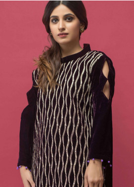 Panache Embroidered Velvet Unstitched Kurties PN18-V2 08 - Winter Collection