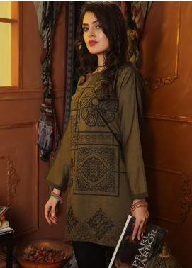 INDICOT  Embroidered Denim Stitched Kurtis Arabesque IB-002 Panachi Olive