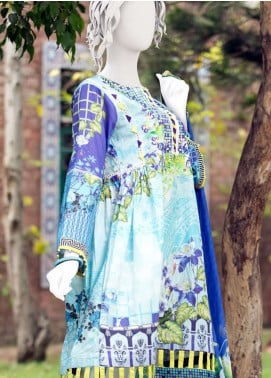 Pearl Closet Embroidered Lawn Unstitched 3 Piece Suit PC19L 19-13 - Spring / Summer Collection