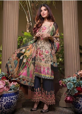 Pechan-e-Zan by Iqra Reza Embroidered Lawn Unstitched 3 Piece Suit PZ20IR 003 - Luxury Collection