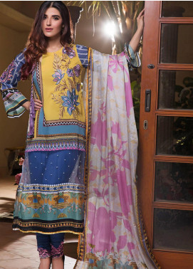 Pechan-e-Zan by Iqra Reza Embroidered Lawn Unstitched 3 Piece Suit PZ20IR 008 - Luxury Collection