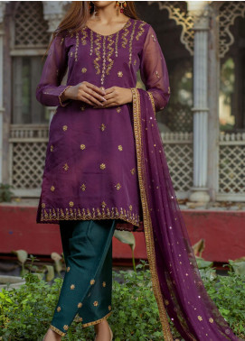 Fayon Embroidered Organza Stitched 3 Piece Suit FN-P109 Aurora