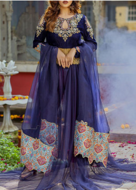 Fayon Embroidered Velvet Stitched 3 Piece Suit FN-P112 Iris