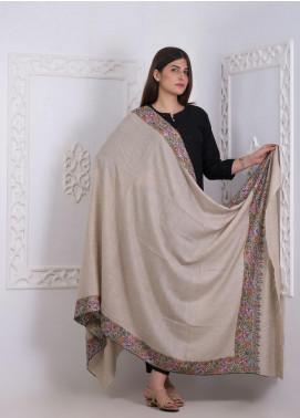 Sanaulla Exclusive Range Embroidered Pashmina  Shawl AKP-02 Fawn - Pashmina Shawls