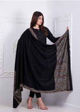 Sanaulla Exclusive Range Embroidered Pashmina Shawl AKP-03 Black - Pashmina Shawls