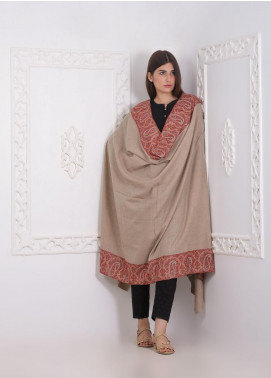 Sanaulla Exclusive Range Embroidered Pashmina Shawl AKP-04 Brown - Pashmina Shawls