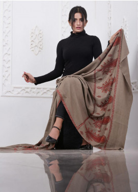 Sanaulla Exclusive Range Embroidered Pashmina Shawl AKP-07 Brown - Pashmina Shawls