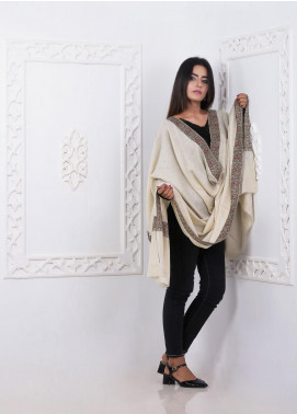 Sanaulla Exclusive Range Embroidered Pashmina  Shawl AKP-09 Fawn - Pashmina Shawls