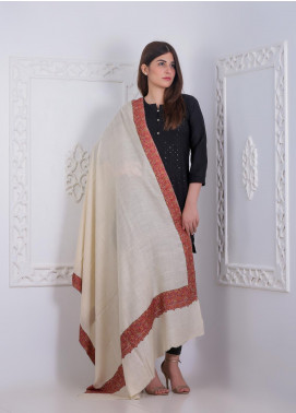 Sanaulla Exclusive Range Embroidered Pashmina Shawl AKP-11 Off/White - Pashmina Shawls