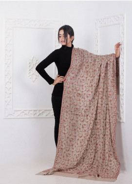 Sanaulla Exclusive Range Embroidered Pashmina Shawl AKP-14 Brown - Pashmina Shawls