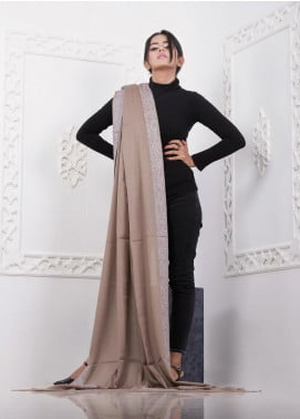 Sanaulla Exclusive Range Embroidered Pashmina  Shawl AKP-16 Grey - Pashmina Shawls