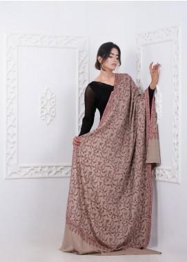 Sanaulla Exclusive Range Embroidered Pashmina  Shawl AKP-275 Fawn - Pashmina Shawls