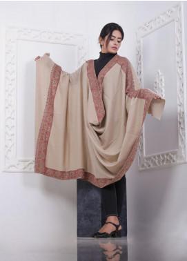 Sanaulla Exclusive Range Embroidered Pashmina  Shawl AKP-277 Fawn - Pashmina Shawls