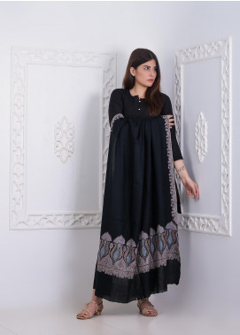 Sanaulla Exclusive Range Embroidered Pashmina  Shawl AKP-278 Black - Pashmina Shawls