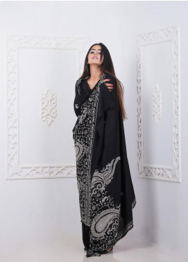 Sanaulla Exclusive Range Embroidered Pashmina  Shawl AKP-279 Black - Pashmina Shawls
