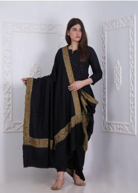 Sanaulla Exclusive Range Embroidered Pashmina Shawl AKP-28 Black - Pashmina Shawls