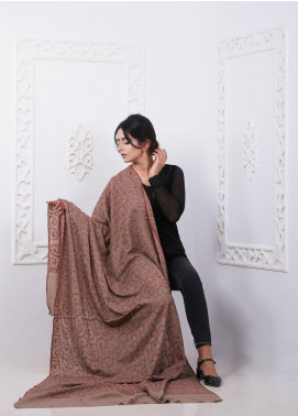 Sanaulla Exclusive Range Embroidered Pashmina Shawl AKP-280 Brown - Pashmina Shawls