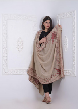 Sanaulla Exclusive Range Embroidered Pashmina  Shawl AKP-284 Fawn - Pashmina Shawls