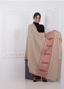 Sanaulla Exclusive Range Embroidered Pashmina  Shawl AKP-285 Fawn - Pashmina Shawls