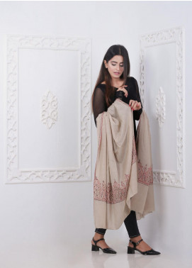 Sanaulla Exclusive Range Embroidered Pashmina  Shawl AKP-286 Fawn - Pashmina Shawls