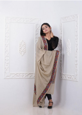 Sanaulla Exclusive Range Embroidered Pashmina  Shawl MIR-266 Beige - Pashmina Shawls