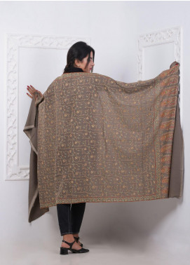 Sanaulla Exclusive Range Embroidered Pashmina  Shawl MIR-874 Brown - Pashmina Shawls
