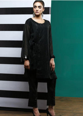 Pulsar Casual Style Chiffon Stitched 2 Piece Suit Black Serenity
