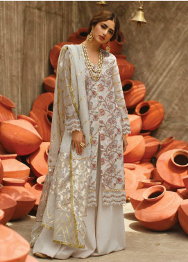 Qalamkar Embroidered Lawn Unstitched 3 Piece Suit QLM20F EC-02 - Luxury Collection