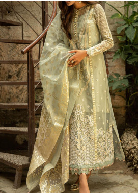 Qalamkar Embroidered Organza Unstitched 3 Piece Suit QLM20LF 03 - Luxury Formal Collection