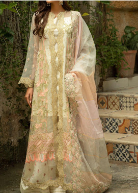 Qalamkar Embroidered Organza Unstitched 3 Piece Suit QLM20LF 04 - Luxury Formal Collection