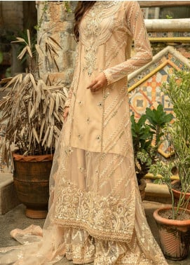 Qalamkar Embroidered Organza Unstitched 3 Piece Suit QLM20LF 06 - Luxury Formal Collection