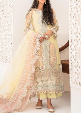 Qalamkar Embroidered Organza Unstitched 3 Piece Suit QLM20LF 07 - Luxury Formal Collection