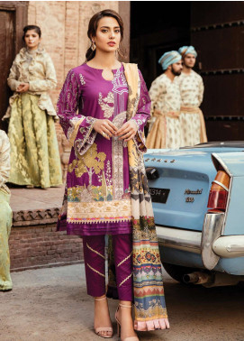 Qalamkar Embroidered Lawn Unstitched 3 Piece Suit QDH19LC 07 Morvarid - Luxury Lawn Collection