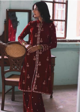 Qalamkar Embroidered Velvet Unstitched 2 Piece Suit QLM19V 03 - Winter Collection