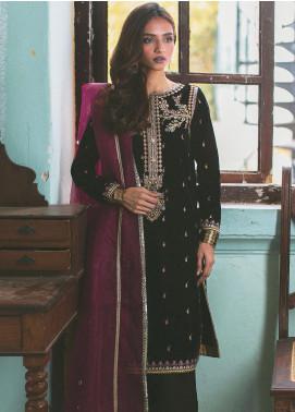 Qalamkar Embroidered Velvet Unstitched 3 Piece Suit QLM19V 05 - Winter Collection