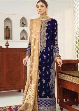 Qalamkar Embroidered Velvet Unstitched 3 Piece Suit QLM20V 02 - Luxury Collection