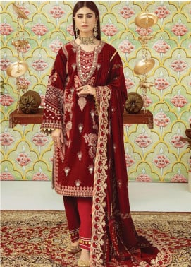 Qalamkar Embroidered Velvet Unstitched 3 Piece Suit QLM20V 05 - Luxury Collection