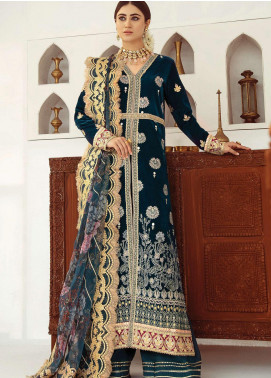 Qalamkar Embroidered Velvet Unstitched 3 Piece Suit QLM20V 07 - Luxury Collection